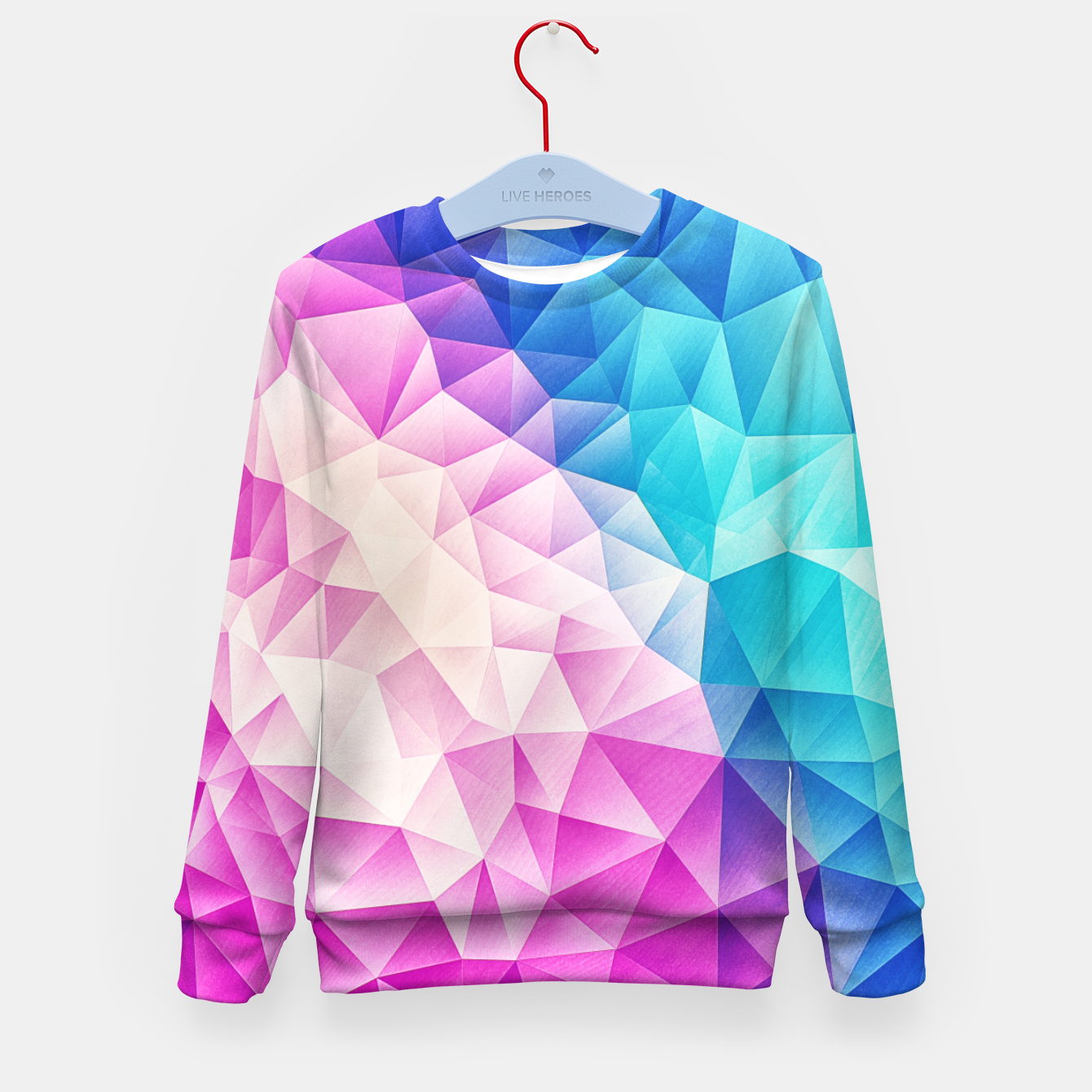 Image of Pink - Ice Blue / Abstract Polygon Crystal Cubism Low Poly Triangle Design Kid's sweater - Live Heroes
