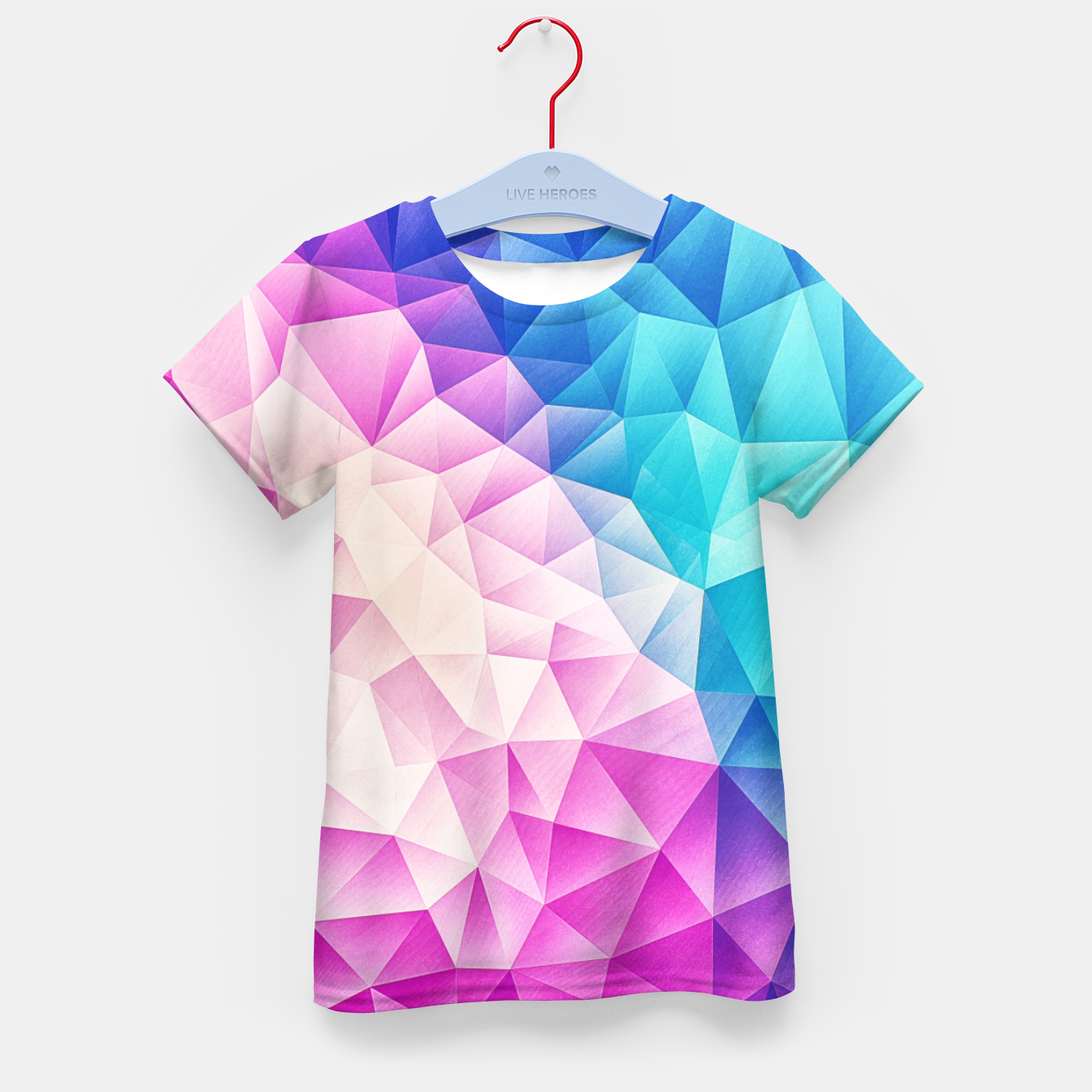 Image de Pink - Ice Blue / Abstract Polygon Crystal Cubism Low Poly Triangle Design Kid's t-shirt - Live Heroes