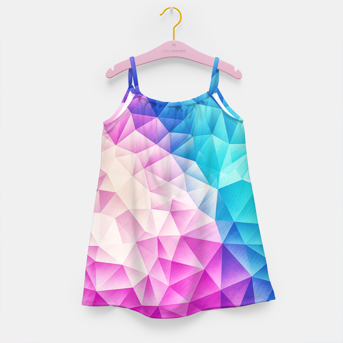 Image de Pink - Ice Blue / Abstract Polygon Crystal Cubism Low Poly Triangle Design Girl's dress - Live Heroes