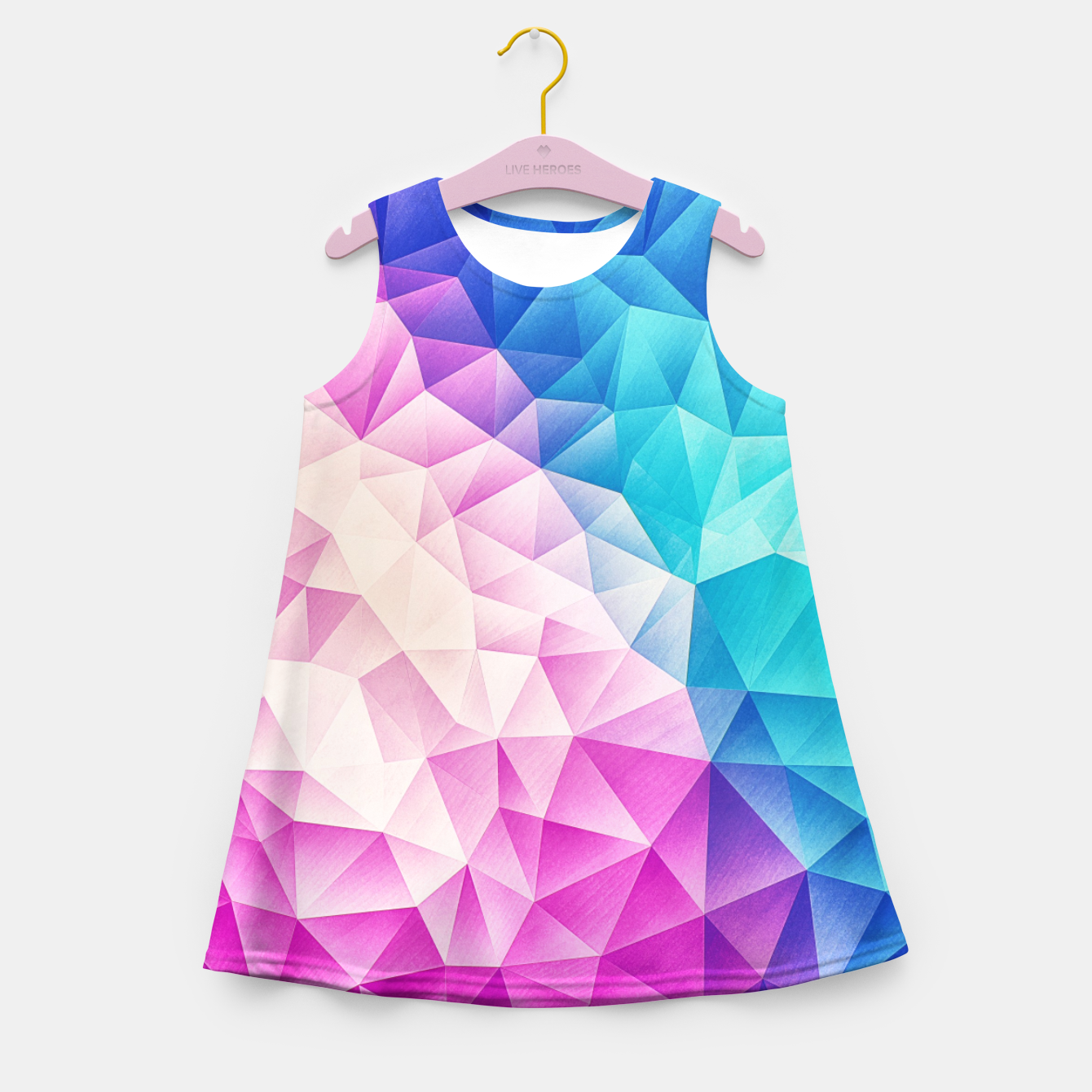Image de Pink - Ice Blue / Abstract Polygon Crystal Cubism Low Poly Triangle Design Girl's summer dress - Live Heroes
