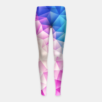 Pink - Ice Blue / Abstract Polygon Crystal Cubism Low Poly Triangle Design Girl's leggings miniature