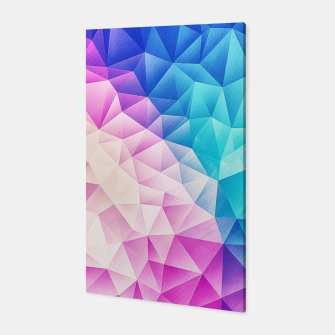 Pink - Ice Blue / Abstract Polygon Crystal Cubism Low Poly Triangle Design Canvas thumbnail image