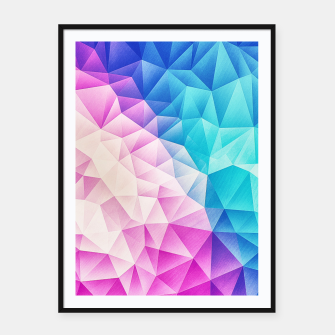Pink - Ice Blue / Abstract Polygon Crystal Cubism Low Poly Triangle Design Framed poster miniature