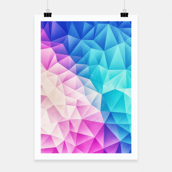 Pink - Ice Blue / Abstract Polygon Crystal Cubism Low Poly Triangle Design Poster miniature