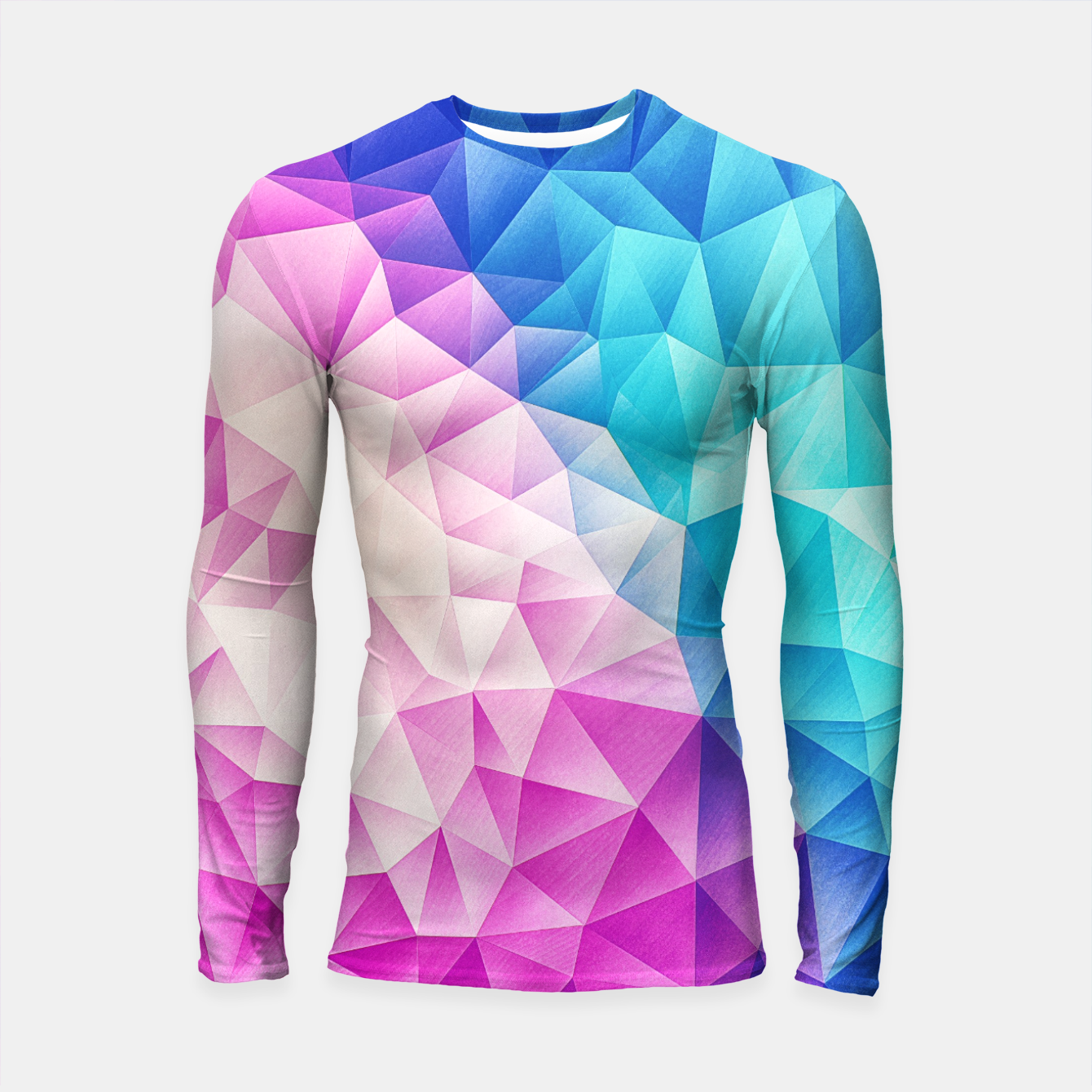 Image de Pink - Ice Blue / Abstract Polygon Crystal Cubism Low Poly Triangle Design Longsleeve rashguard  - Live Heroes