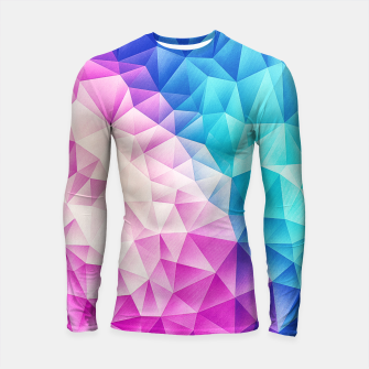 Pink - Ice Blue / Abstract Polygon Crystal Cubism Low Poly Triangle Design Longsleeve rashguard  miniature