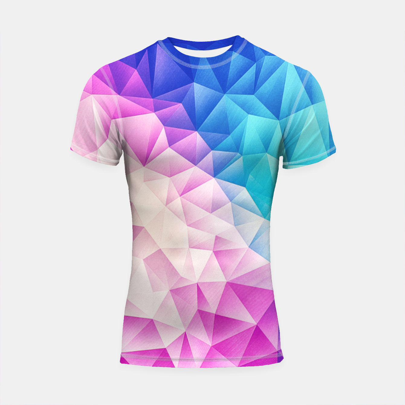 Image de Pink - Ice Blue / Abstract Polygon Crystal Cubism Low Poly Triangle Design Shortsleeve rashguard - Live Heroes
