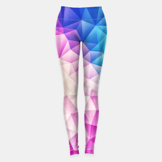 Pink - Ice Blue / Abstract Polygon Crystal Cubism Low Poly Triangle Design Leggings miniature