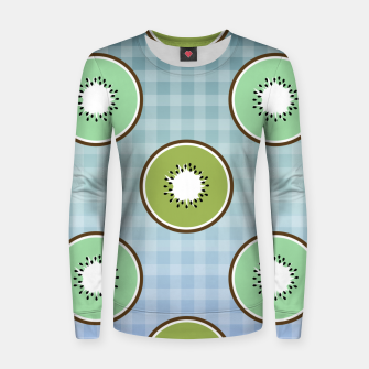 Thumbnail image of Kiwi summer fruit and gingham Women sweater, Live Heroes
