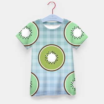 Thumbnail image of Kiwi summer fruit and gingham Kid's t-shirt, Live Heroes