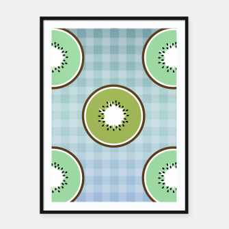 Thumbnail image of Kiwi summer fruit and gingham Framed poster, Live Heroes