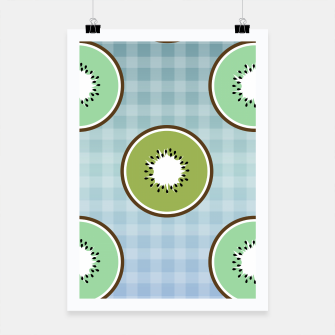 Thumbnail image of Kiwi summer fruit and gingham Poster, Live Heroes