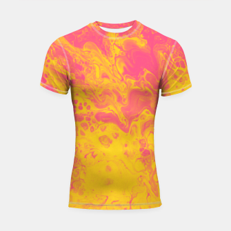 Thumbnail image of Pink and Yellow Marble Shortsleeve rashguard, Live Heroes