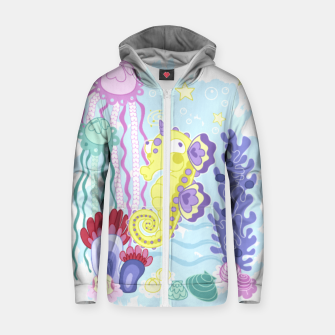 Thumbnail image of The Majestic Magical Seahorse Unicorn Zip up hoodie, Live Heroes