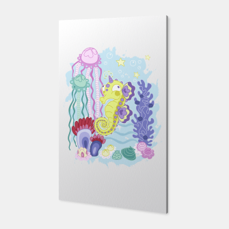 Thumbnail image of The Majestic Magical Seahorse Unicorn Canvas, Live Heroes
