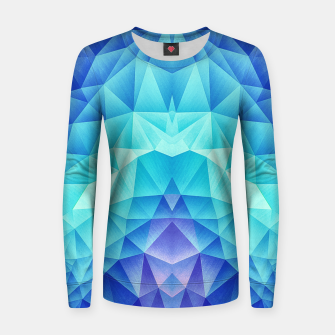 Ice Blue / Abstract Polygon Crystal Cubism Low Poly Triangle Design Women sweater miniature