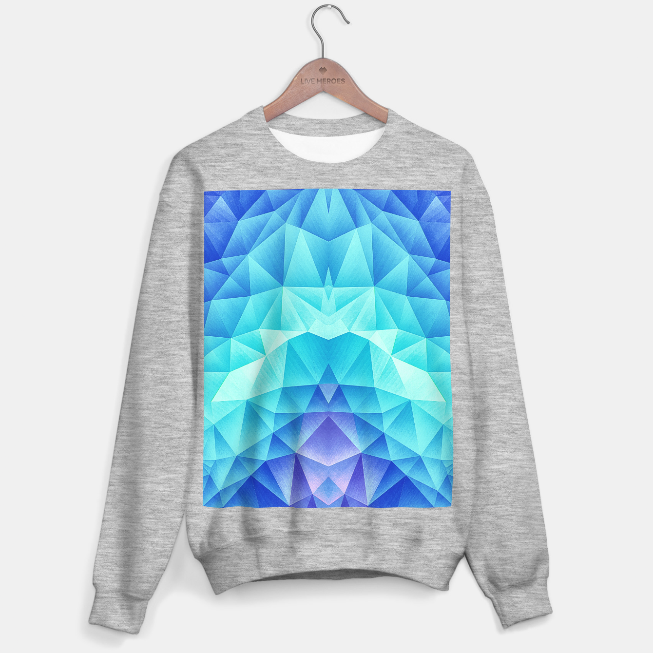 Image de Ice Blue / Abstract Polygon Crystal Cubism Low Poly Triangle Design Sweater regular - Live Heroes