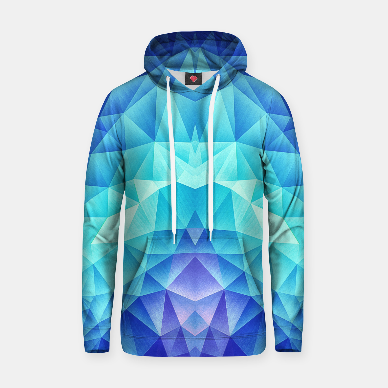 Image de Ice Blue / Abstract Polygon Crystal Cubism Low Poly Triangle Design Hoodie - Live Heroes