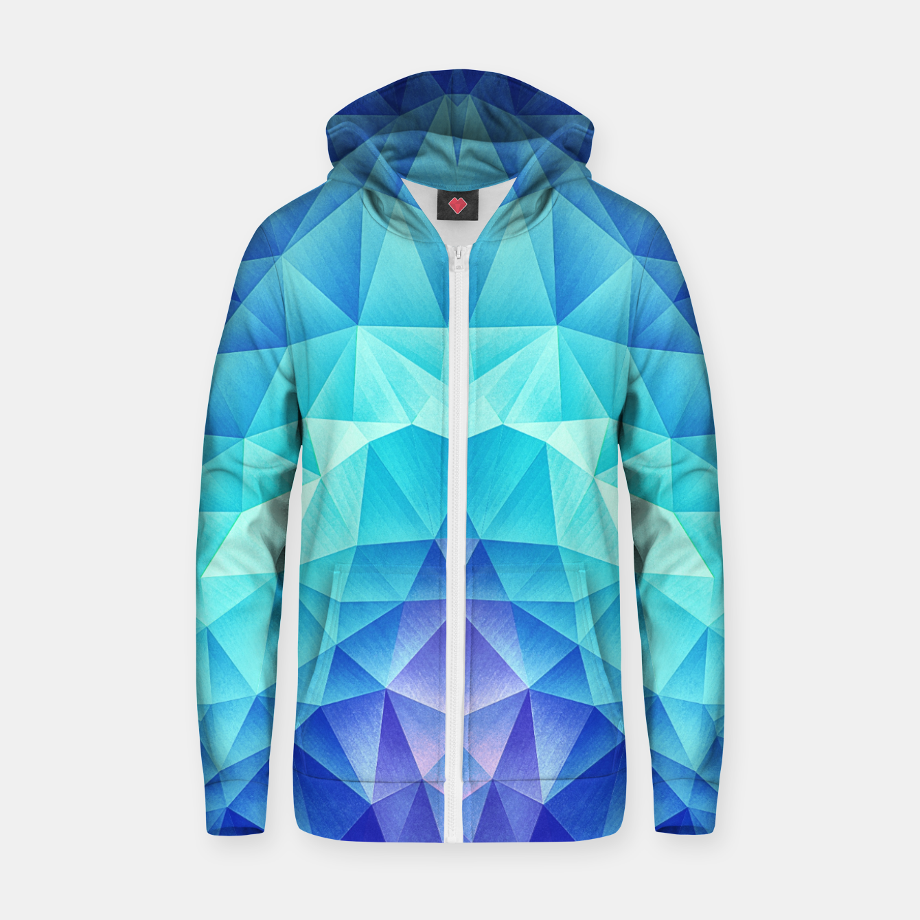 Image de Ice Blue / Abstract Polygon Crystal Cubism Low Poly Triangle Design Zip up hoodie - Live Heroes
