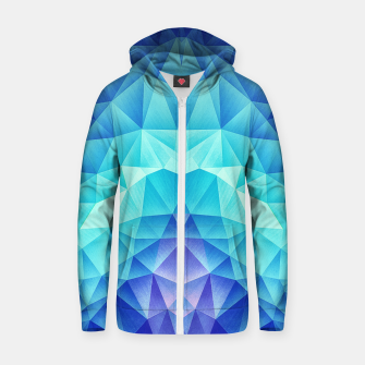 Ice Blue / Abstract Polygon Crystal Cubism Low Poly Triangle Design Zip up hoodie thumbnail image