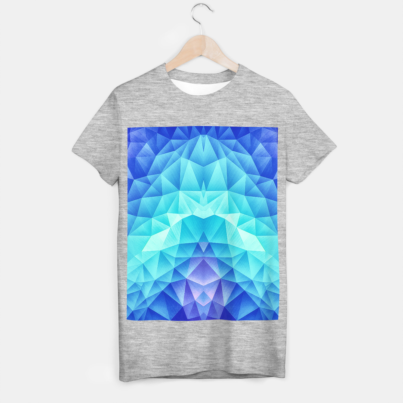 Image de Ice Blue / Abstract Polygon Crystal Cubism Low Poly Triangle Design T-shirt regular - Live Heroes