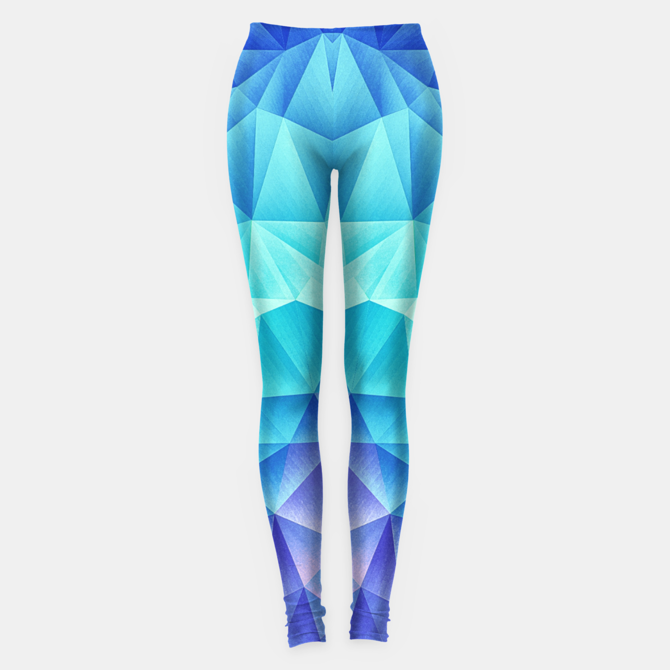 Image de Ice Blue / Abstract Polygon Crystal Cubism Low Poly Triangle Design Leggings - Live Heroes
