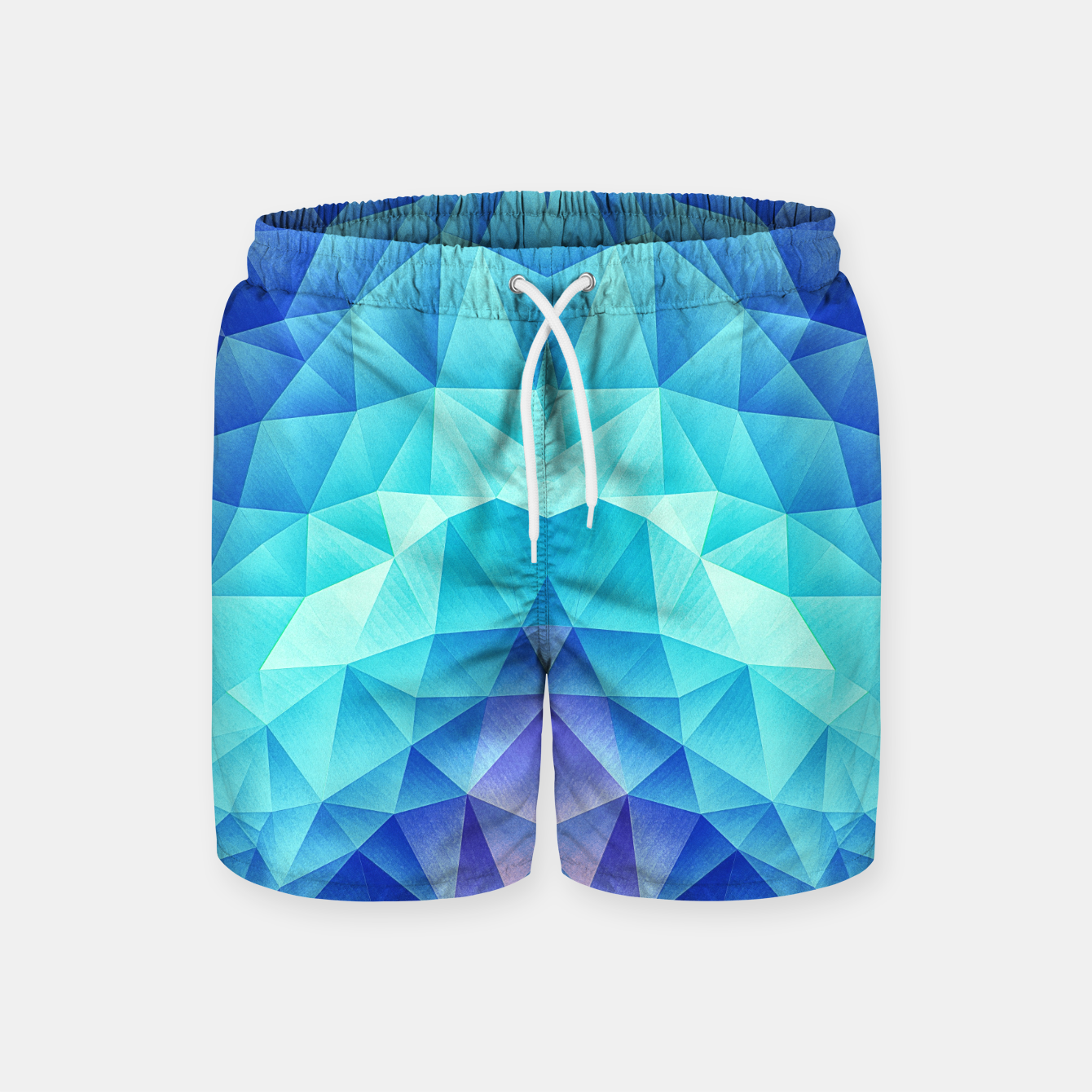 Image de Ice Blue / Abstract Polygon Crystal Cubism Low Poly Triangle Design Swim Shorts - Live Heroes