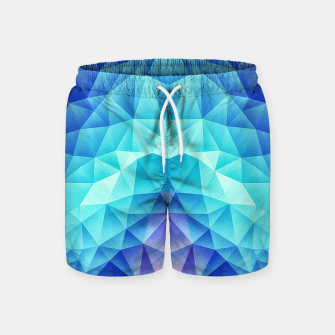 Thumbnail image of Ice Blue / Abstract Polygon Crystal Cubism Low Poly Triangle Design Swim Shorts, Live Heroes