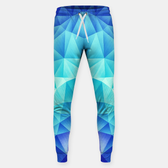 Ice Blue / Abstract Polygon Crystal Cubism Low Poly Triangle Design Sweatpants miniature