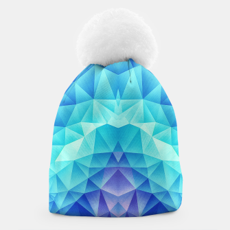 Ice Blue / Abstract Polygon Crystal Cubism Low Poly Triangle Design Beanie thumbnail image