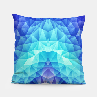 Ice Blue / Abstract Polygon Crystal Cubism Low Poly Triangle Design Pillow thumbnail image