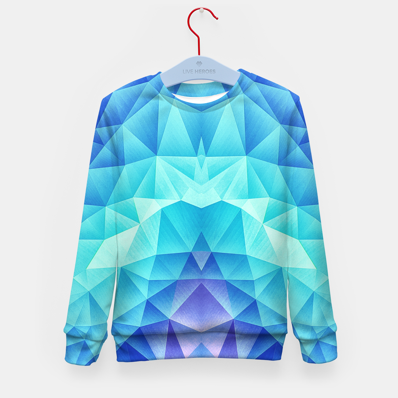 Image of Ice Blue / Abstract Polygon Crystal Cubism Low Poly Triangle Design Kid's sweater - Live Heroes