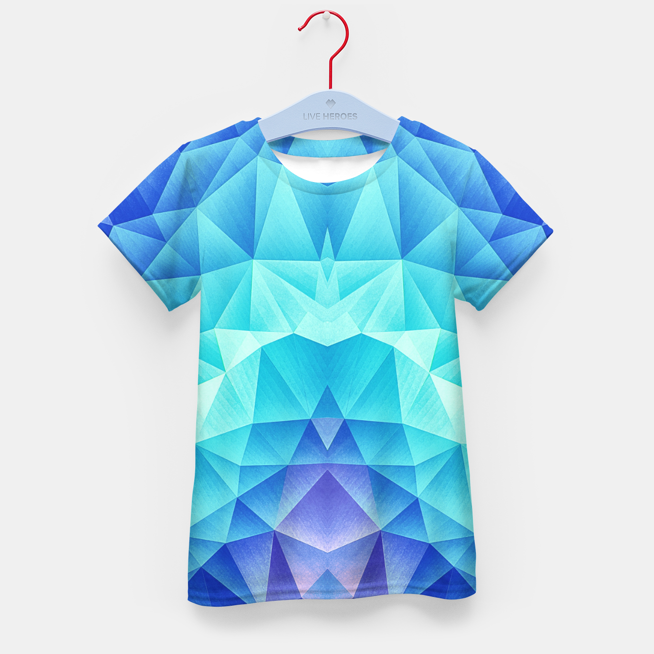 Image de Ice Blue / Abstract Polygon Crystal Cubism Low Poly Triangle Design Kid's t-shirt - Live Heroes