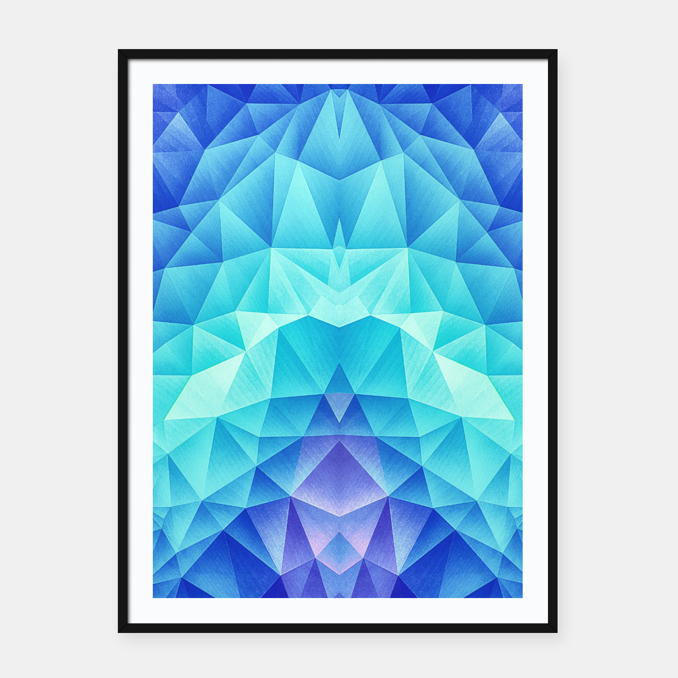 Image de Ice Blue / Abstract Polygon Crystal Cubism Low Poly Triangle Design Framed poster - Live Heroes