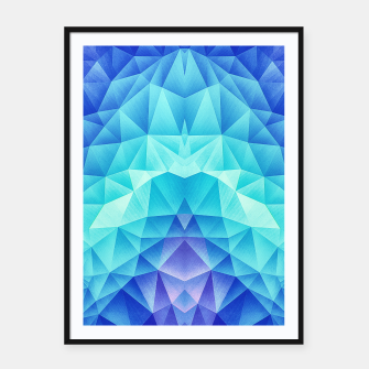 Ice Blue / Abstract Polygon Crystal Cubism Low Poly Triangle Design Framed poster miniature