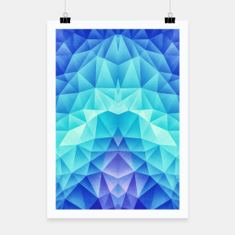 Ice Blue / Abstract Polygon Crystal Cubism Low Poly Triangle Design Poster miniature
