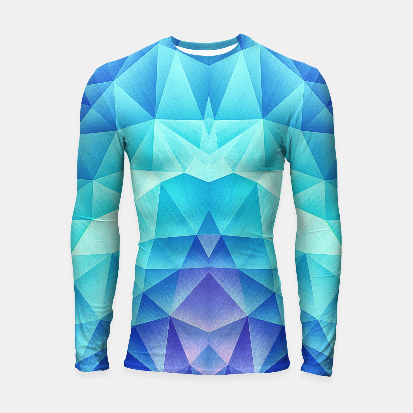 Image de Ice Blue / Abstract Polygon Crystal Cubism Low Poly Triangle Design Longsleeve rashguard  - Live Heroes