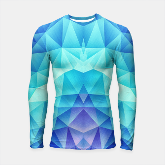 Ice Blue / Abstract Polygon Crystal Cubism Low Poly Triangle Design Longsleeve rashguard  thumbnail image