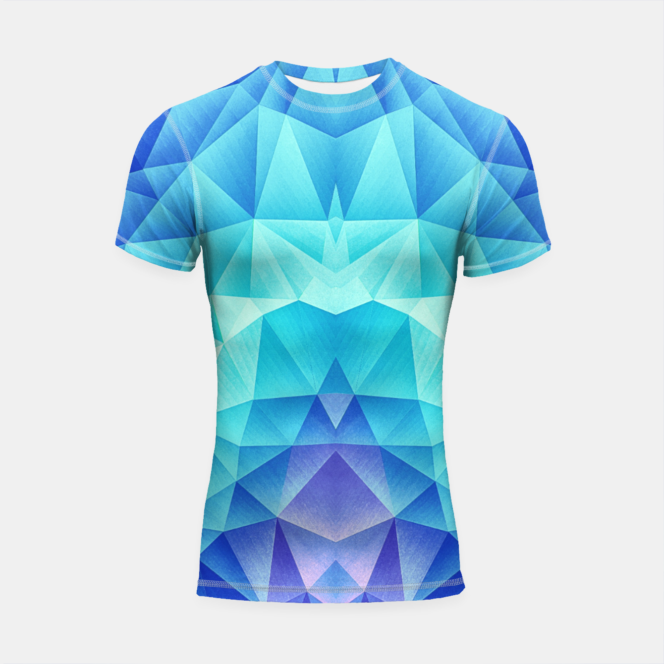 Image de Ice Blue / Abstract Polygon Crystal Cubism Low Poly Triangle Design Shortsleeve rashguard - Live Heroes