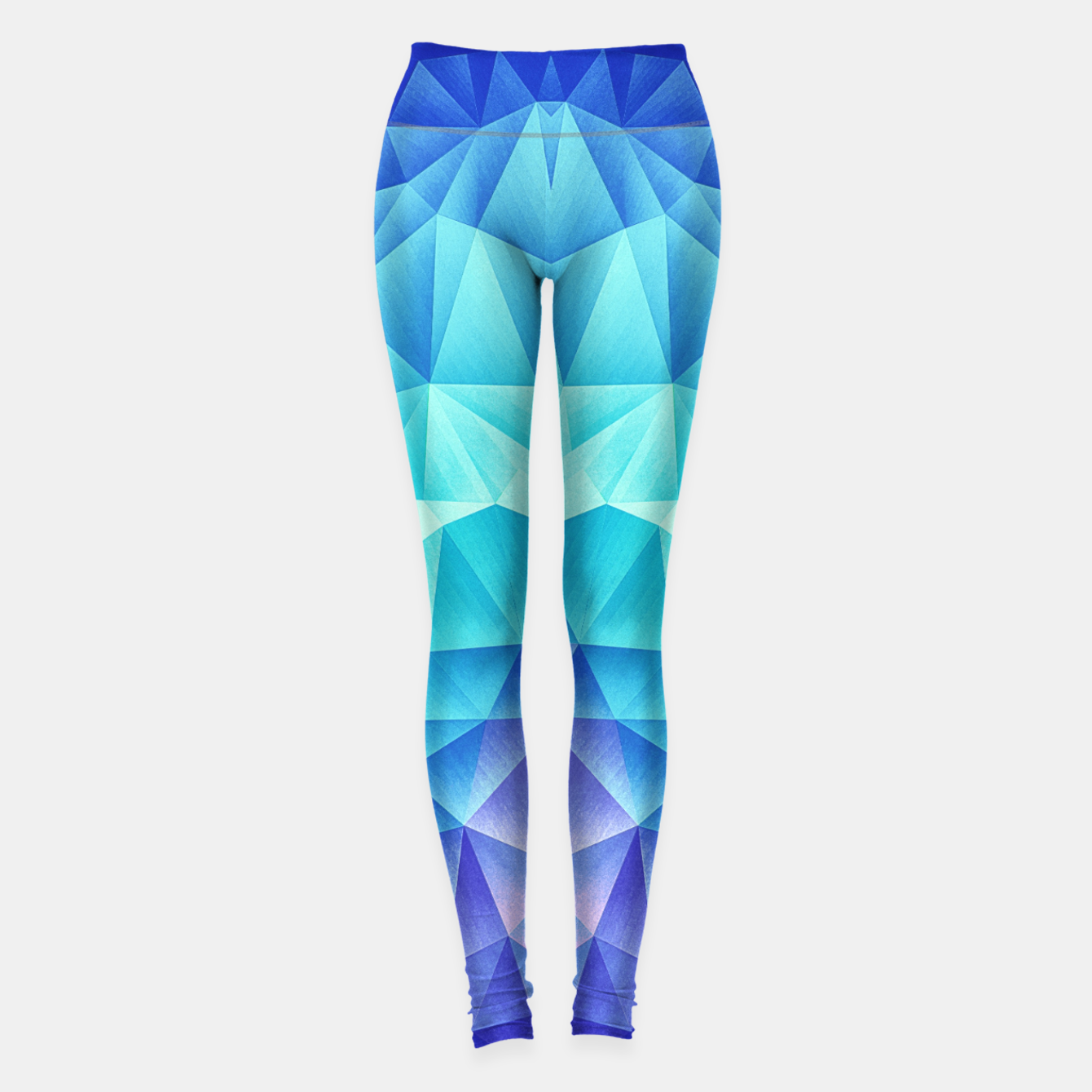 Image of Ice Blue / Abstract Polygon Crystal Cubism Low Poly Triangle Design Leggings - Live Heroes