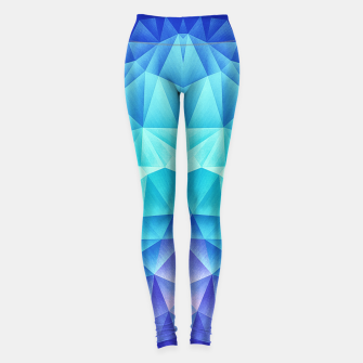Ice Blue / Abstract Polygon Crystal Cubism Low Poly Triangle Design Leggings thumbnail image