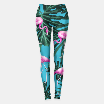 Thumbnail image of Summer Flamingo Jungle Vibes #2 #tropical #decor #art Leggings, Live Heroes