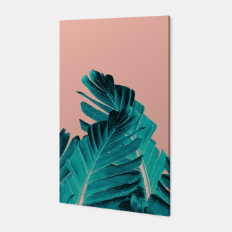 Miniatur Turquoise Banana Leaves Dream #1 #tropical #decor #art Canvas, Live Heroes