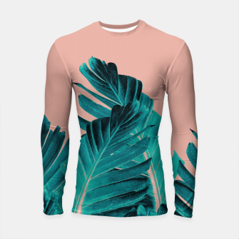 Thumbnail image of Turquoise Banana Leaves Dream #1 #tropical #decor #art Longsleeve rashguard, Live Heroes