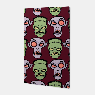 Miniatur Dracula and Frankenstein Monster Pattern Canvas, Live Heroes
