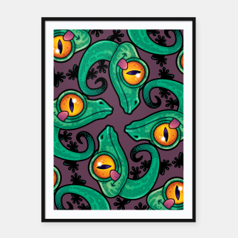 Thumbnail image of Cute Cartoon Gecko Pattern Framed poster, Live Heroes