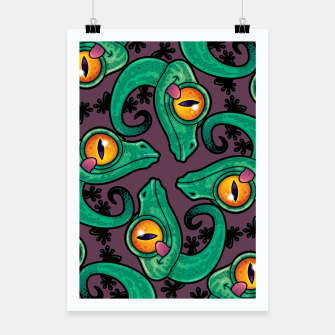 Thumbnail image of Cute Cartoon Gecko Pattern Poster, Live Heroes