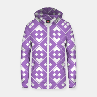 Imagen en miniatura de Abstract geometric pattern - purple and white. Zip up hoodie, Live Heroes