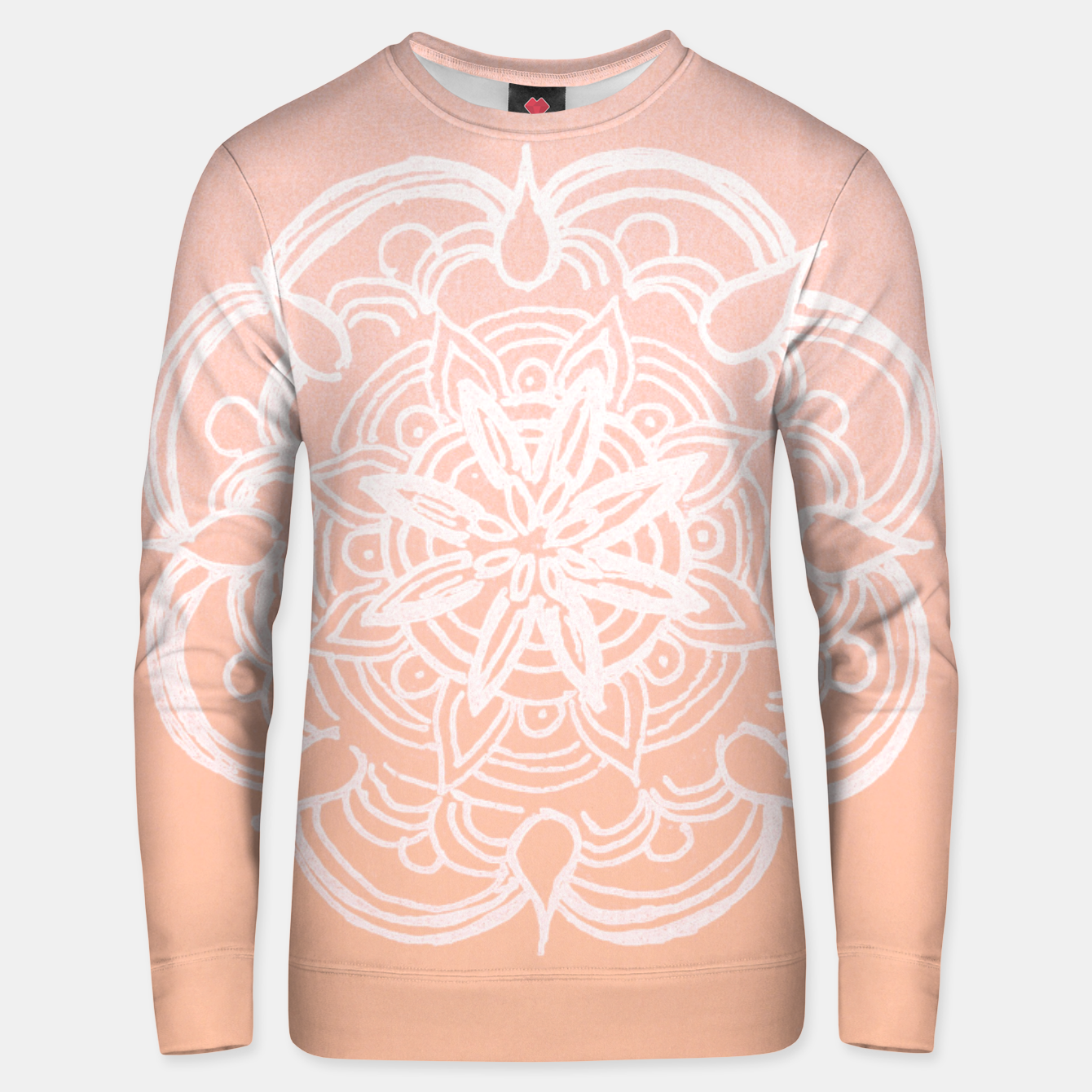 Image of Peach Blush Romantic Flower Mandala #3 #drawing #decor #art Unisex sweatshirt - Live Heroes