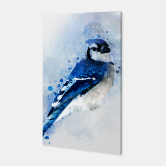 Miniatur Watercolor blue jay Canvas, Live Heroes